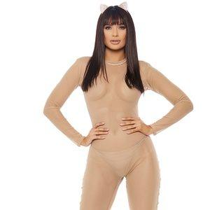 Sheer Mesh Long Sleeve Catsuit Zipper Closure Nude